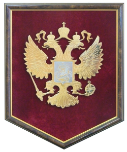 Герб России на бархате (в раме)